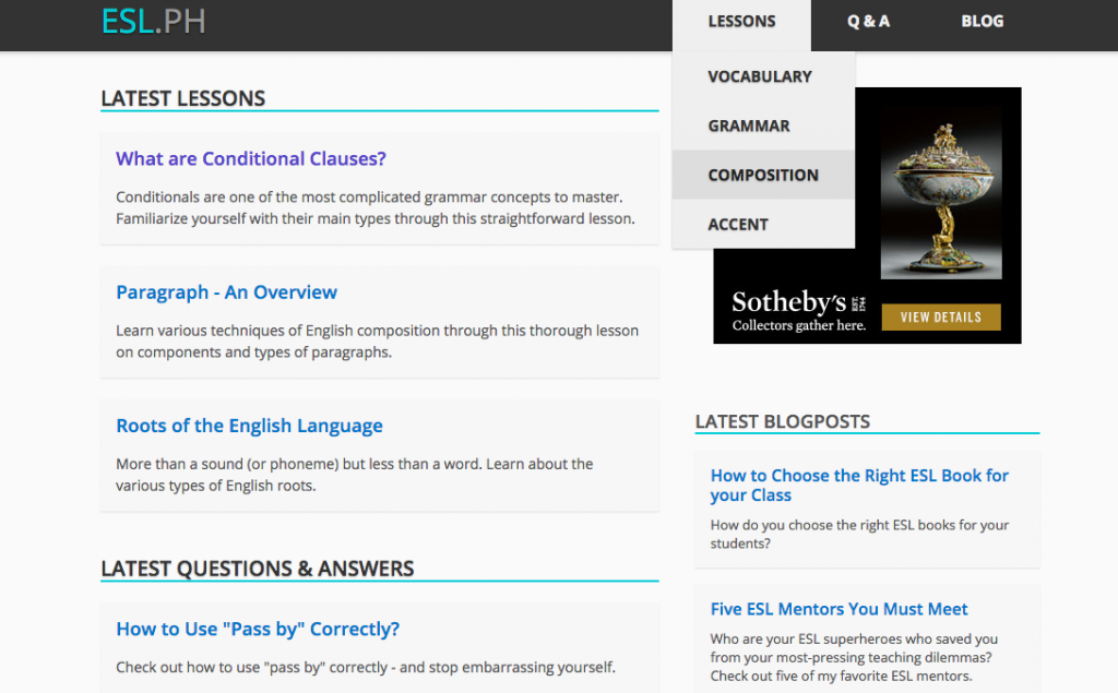 esl.ph - a website for ESL learners