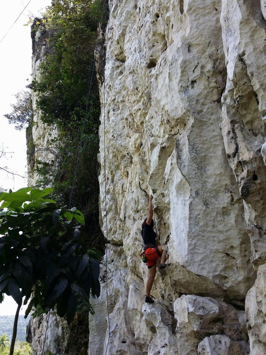 newbie climber at Poog Crag
