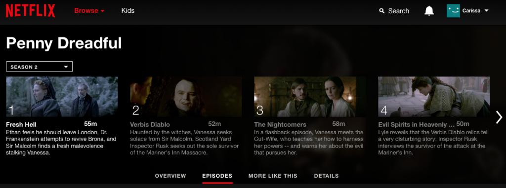 Penny-Dreadful on Netflix