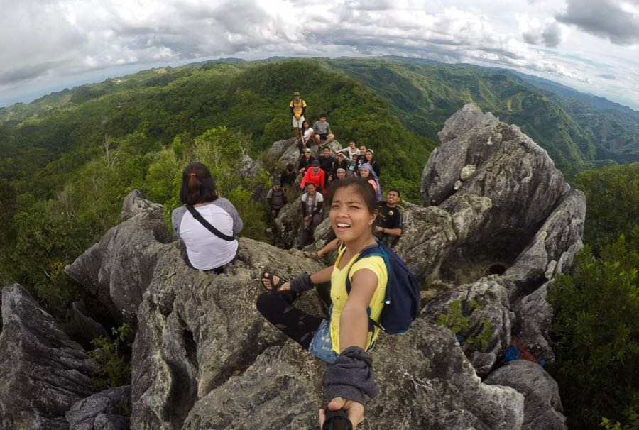 Reaching the peak of Mt Kapayas