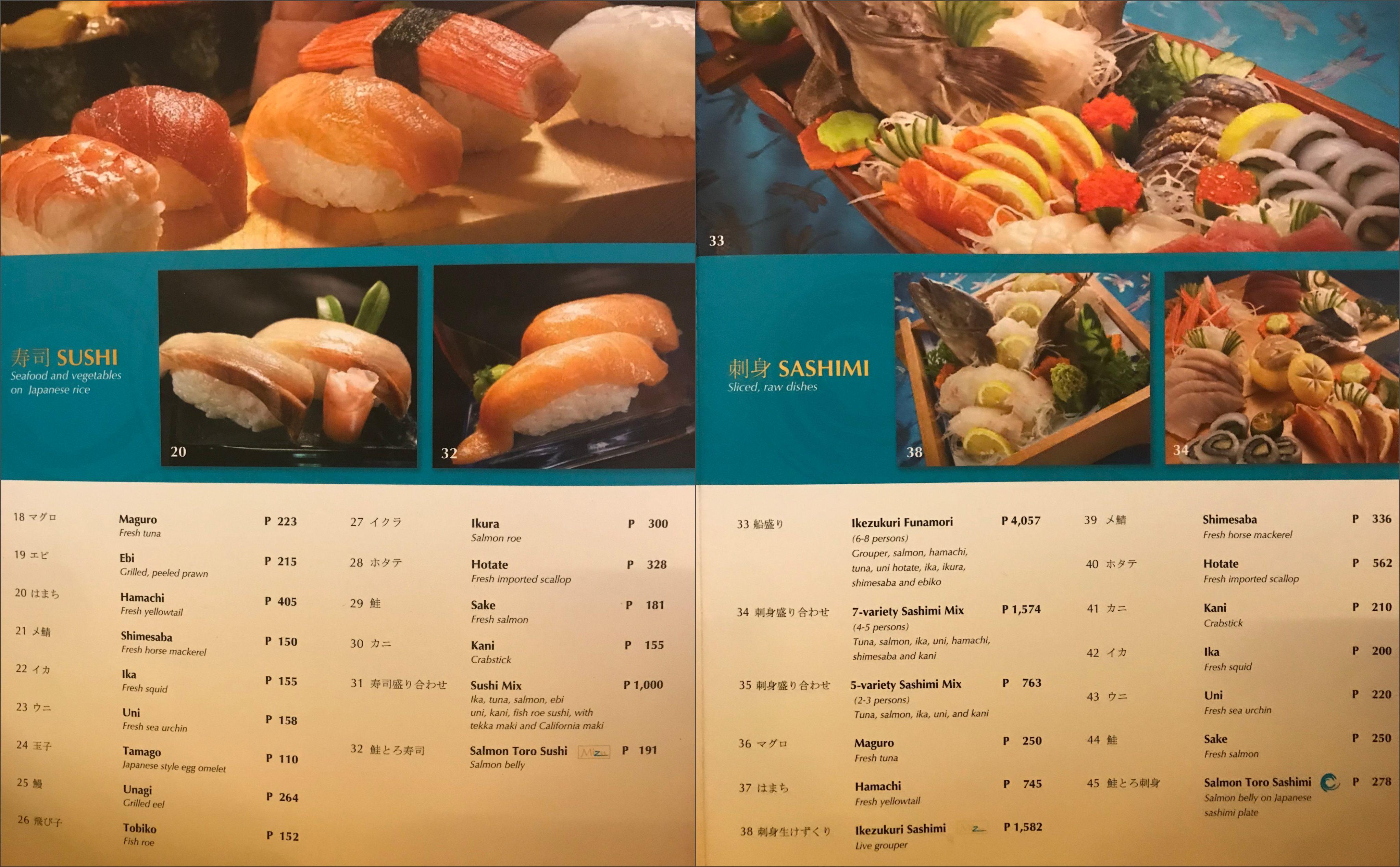 raw dishes in Mizu Waterfront Cebu City